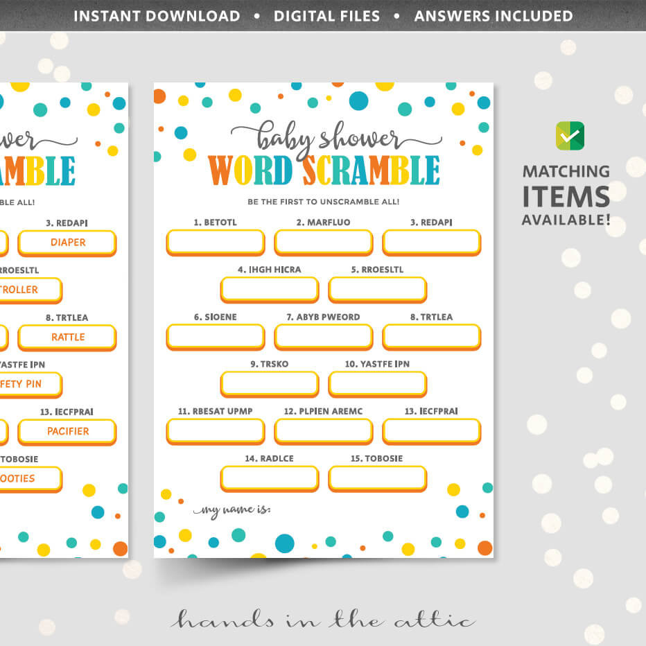 Word Scramble Baby Shower Game Printable Word Jumble Puzzle | Etsy - Printable Jumble Puzzles With Answers