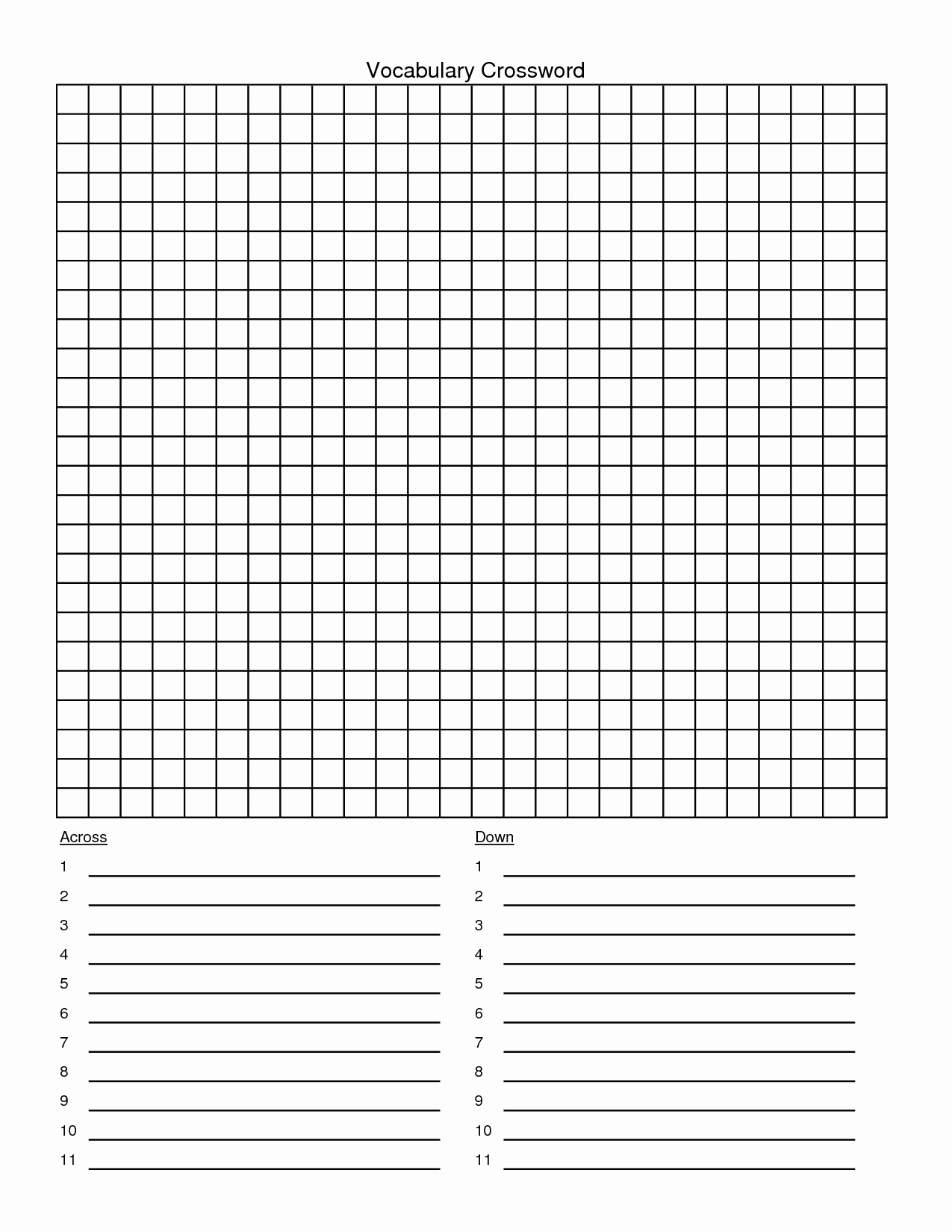 Word Search Template Blank – Amandae.ca - Printable Crossword Puzzle Grid