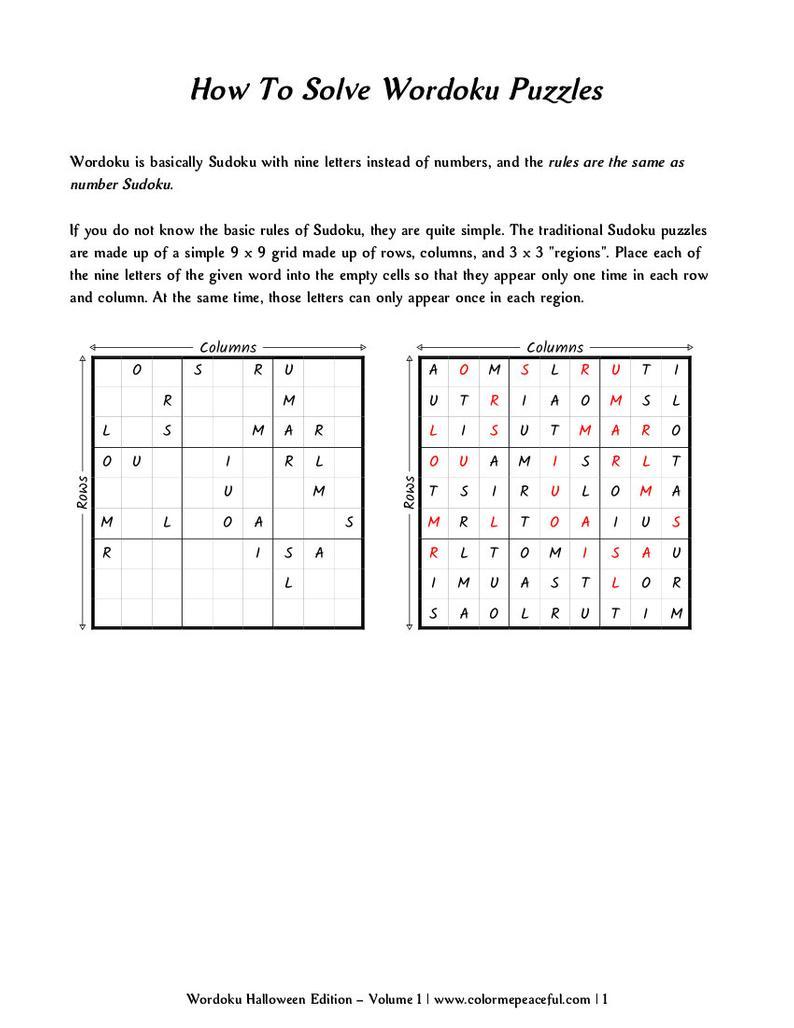 Wordoku Puzzle Book Halloween Edition Volume 1 Printable   Etsy - Printable Wordoku Puzzles