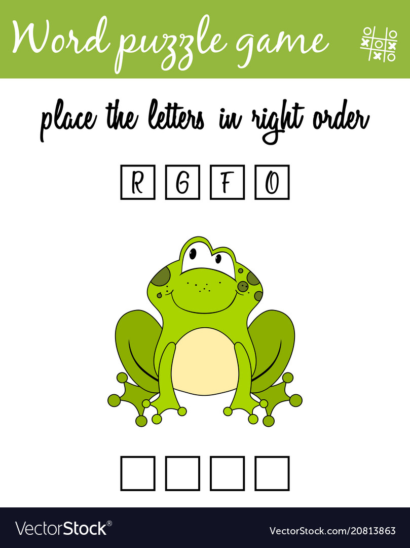 Words Puzzle Game With Cartoon Frog Place The Vector Image - Printable Frog Puzzle