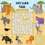 Words Search Puzzle Game Of African Animals For Preschool Kids   Printable Animal Puzzle