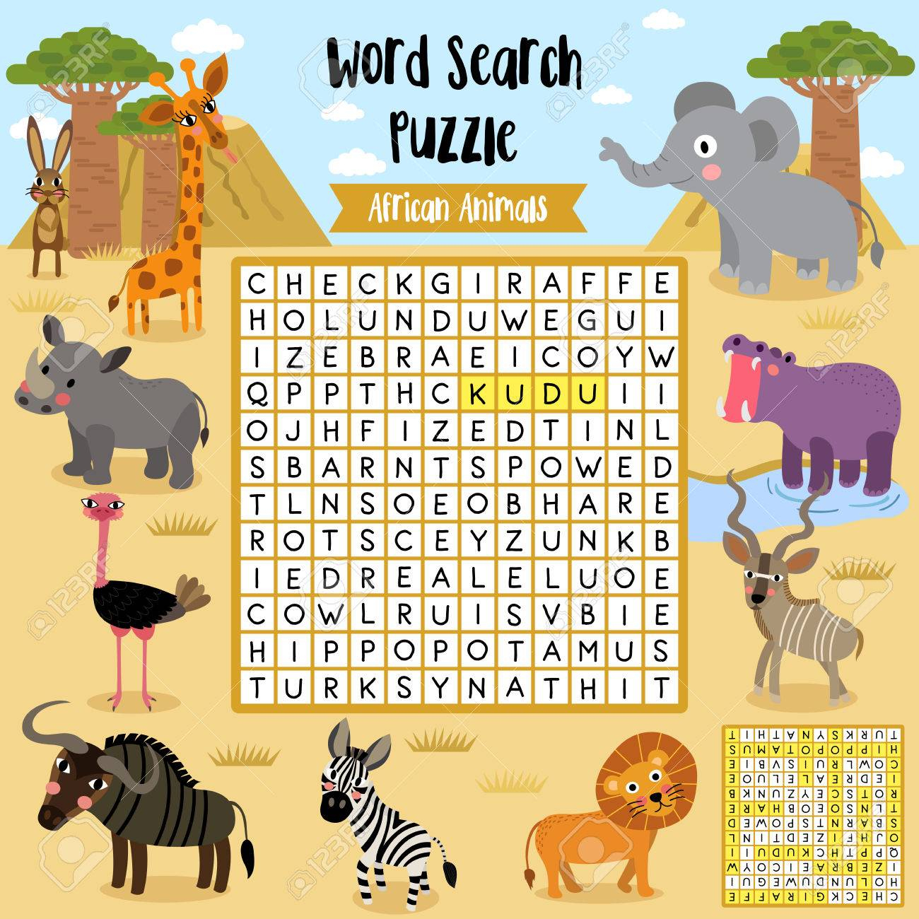 Words Search Puzzle Game Of African Animals For Preschool Kids - Printable Animal Puzzle