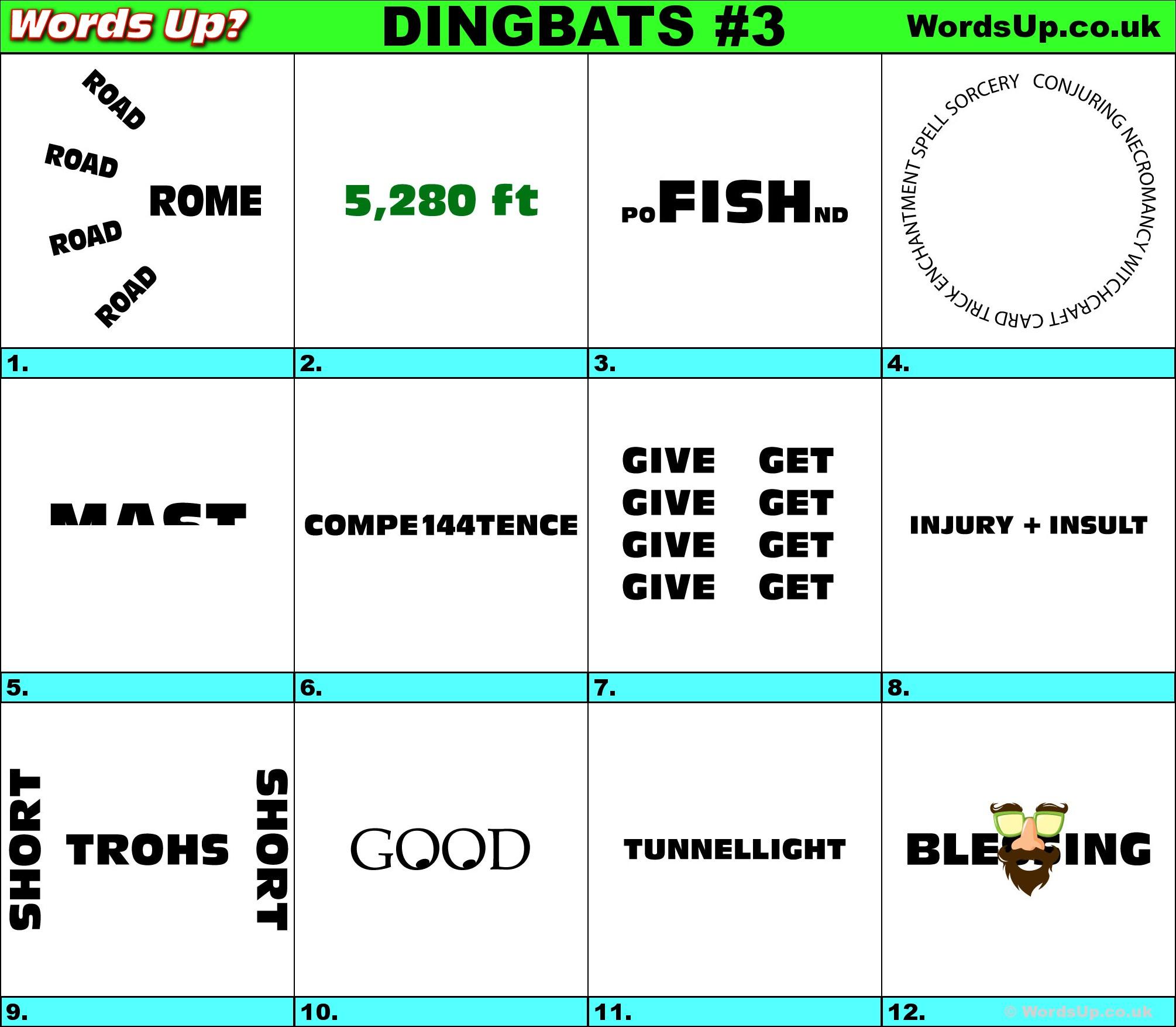 Words Up? Dingbat Puzzles - Printable Dingbat Puzzles