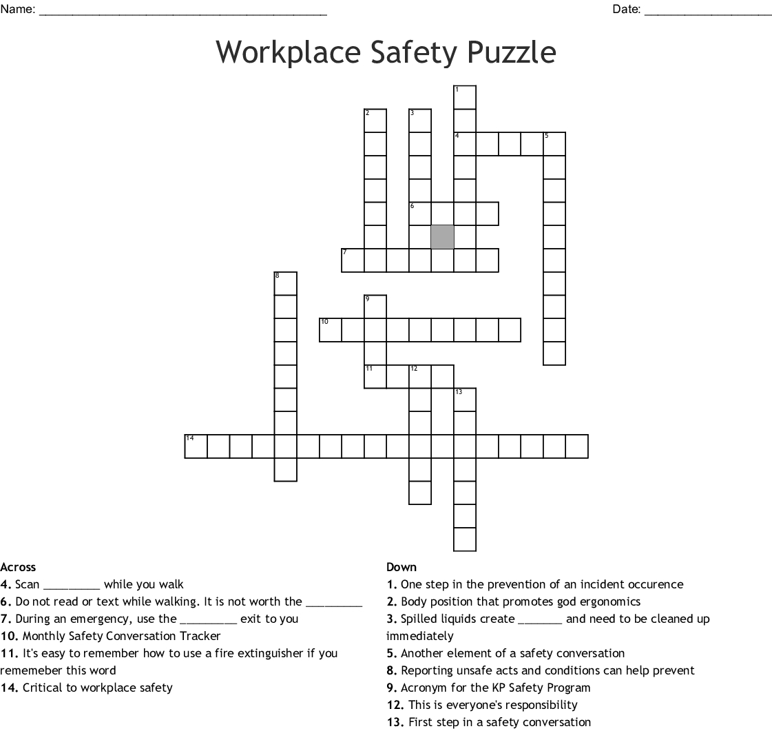 Workplace Safety Puzzle Crossword - Wordmint - Fire Safety Crossword Puzzle Printable