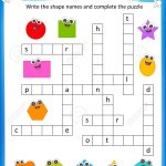 Worksheet   Complete The Crossword Puzzle 2D Shapes Worksheet   Printable Puzzle For Preschool