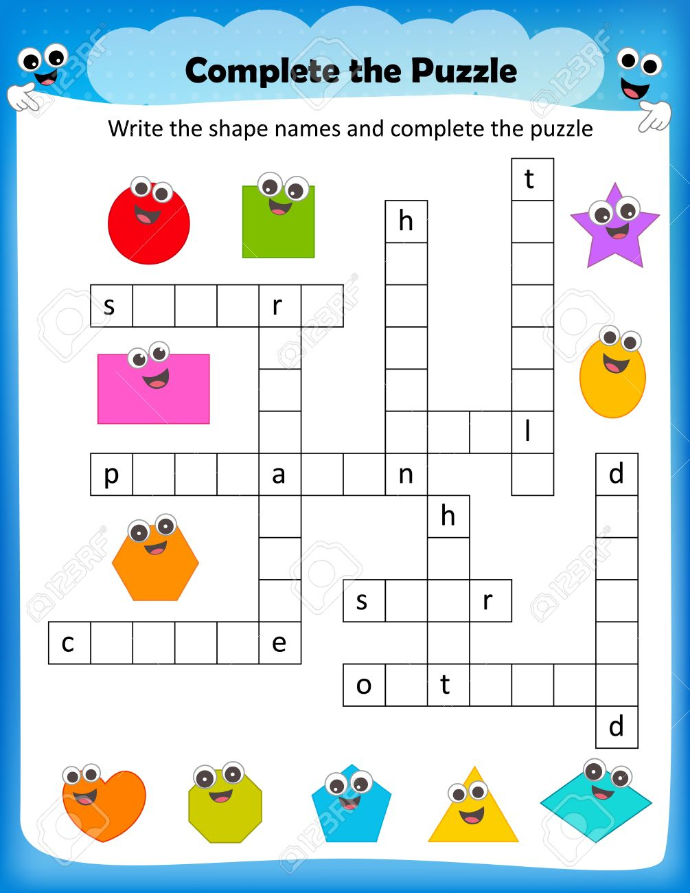 Worksheet - Complete The Crossword Puzzle 2D Shapes Worksheet - Printable Puzzle For Preschool