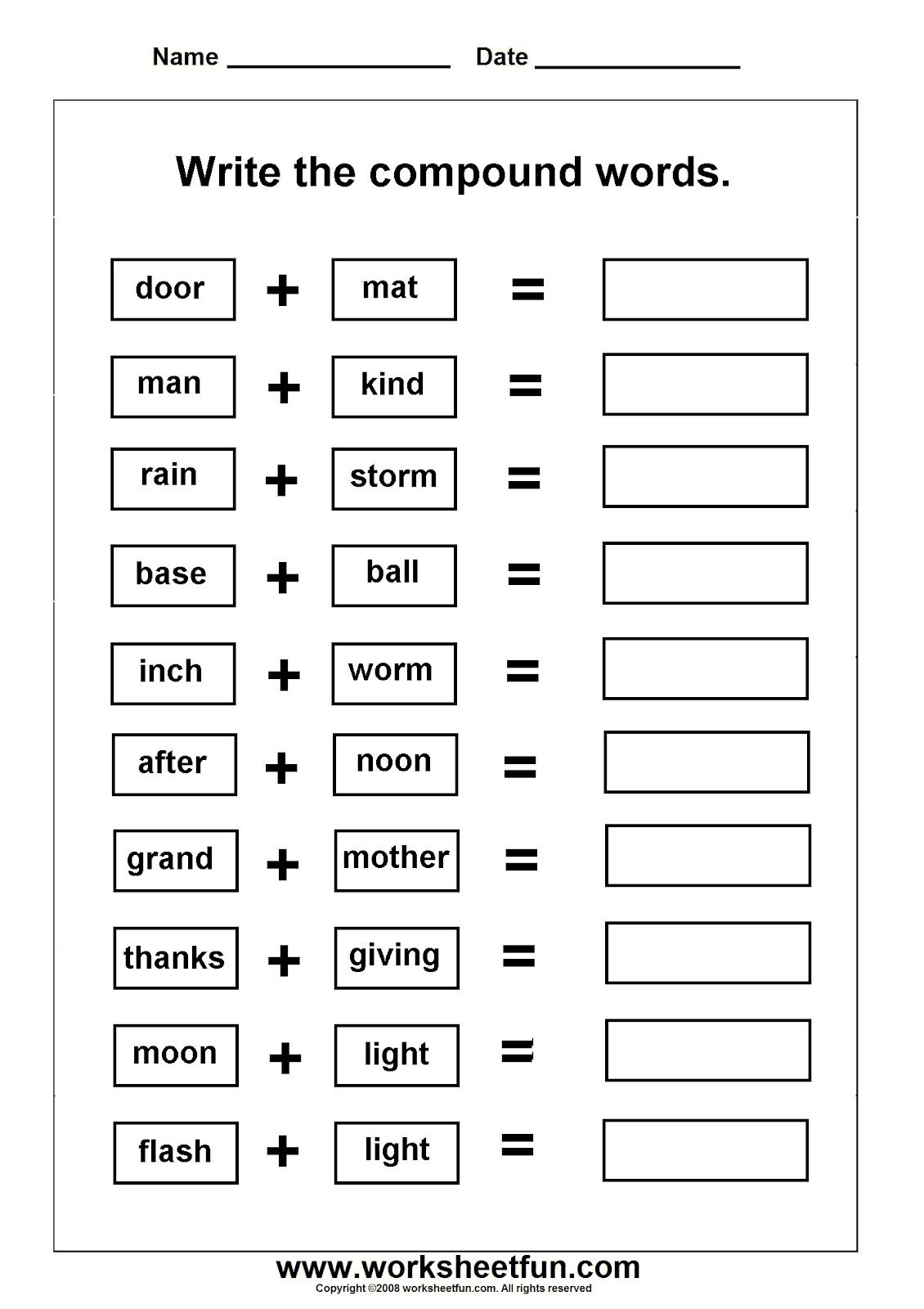 Worksheets On Compound Words With Pictures | Ela Activities - Printable Compound Word Crossword Puzzle