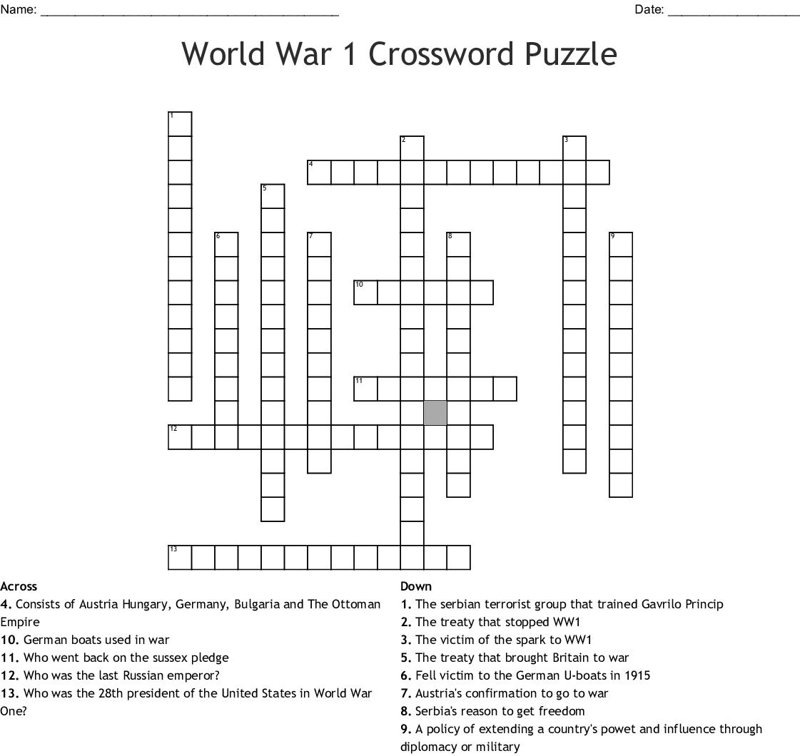 World War 1 Crossword Puzzle Crossword - Wordmint - Printable German Crossword Puzzles