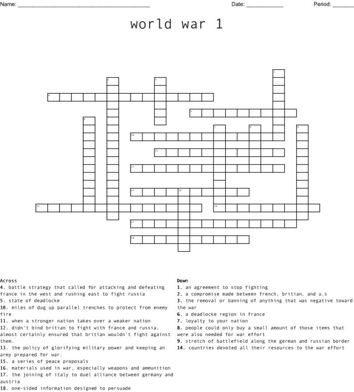 Wwi Crossword Puzzle Printable