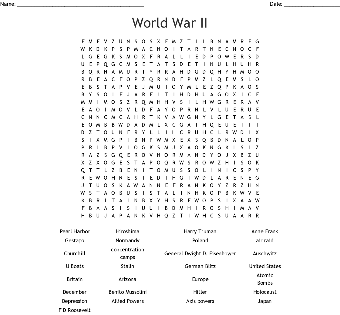 World War Ii Word Search - Wordmint - Wwii Crossword Puzzle Printable