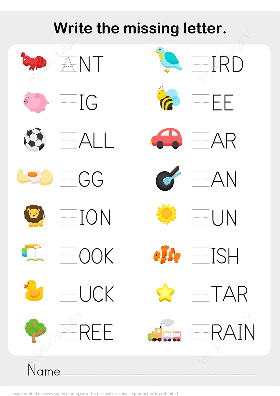 Write The Missing Letter In Words Worksheet Copy | Free Printable - Printable Letter Puzzle