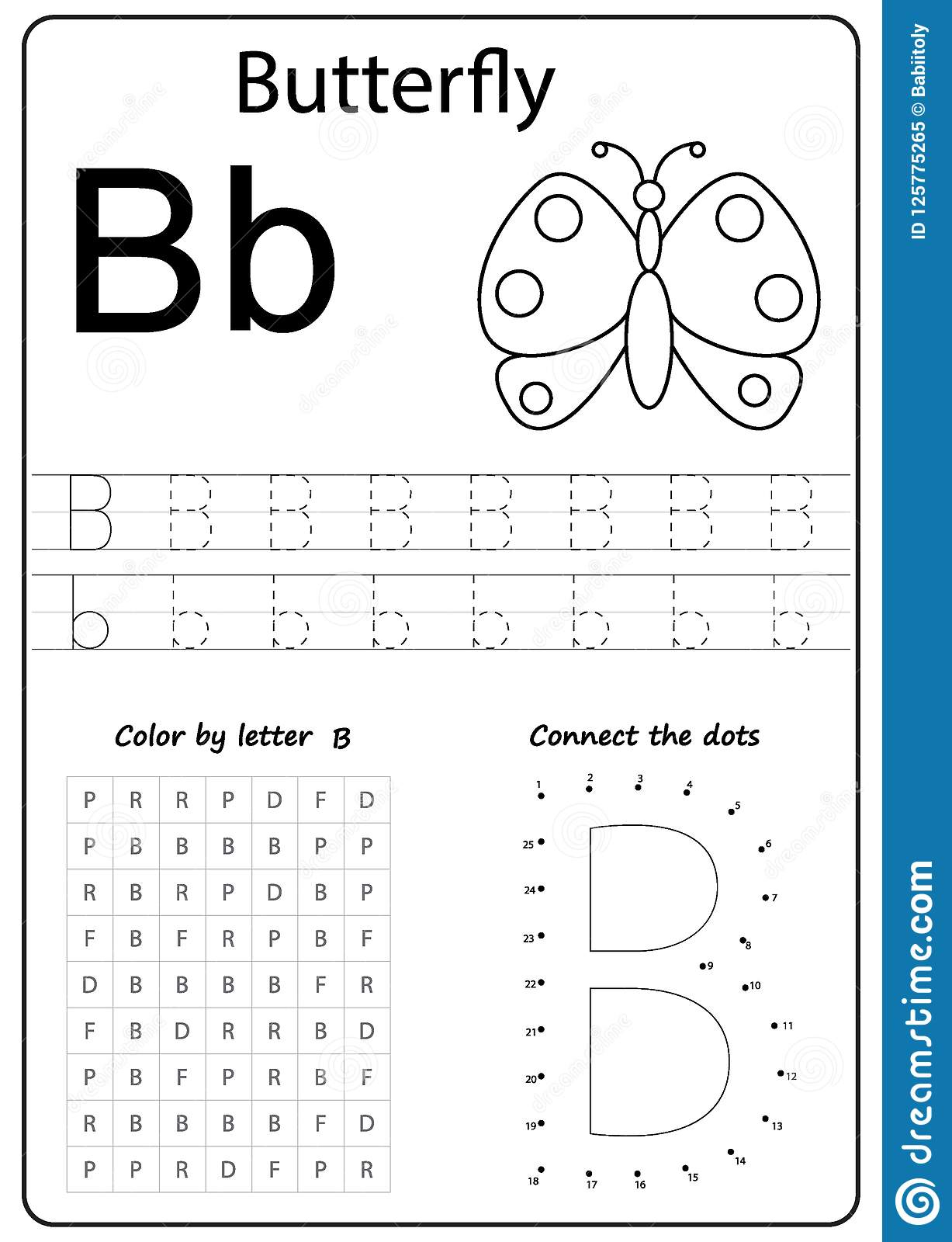 Writing Letter B. Worksheet. Writing A-Z, Alphabet, Exercises Game - Letter B Puzzle Printable