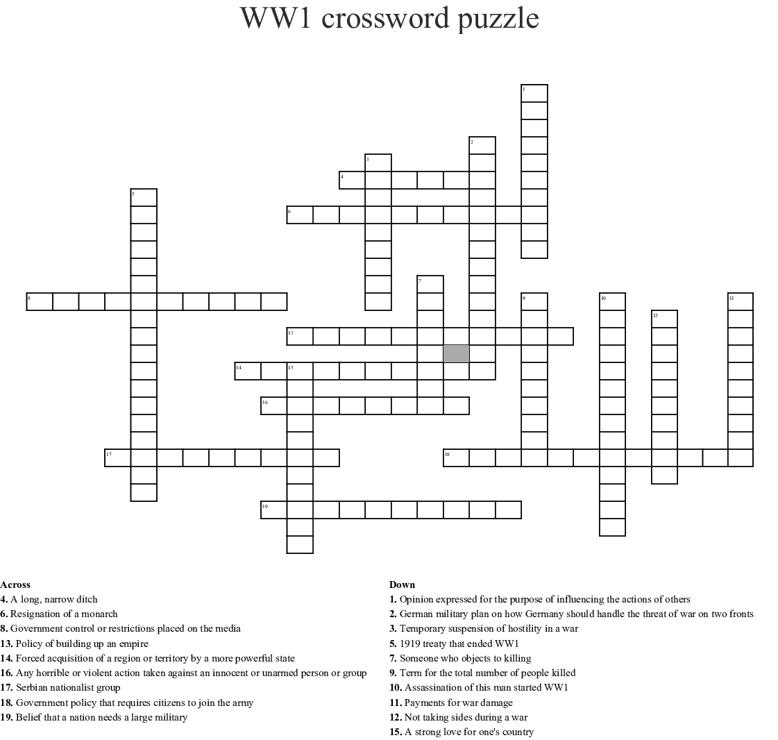 Ww1 Crossword Puzzle Crossword - Wordmint - Wwi Crossword Puzzle Printable