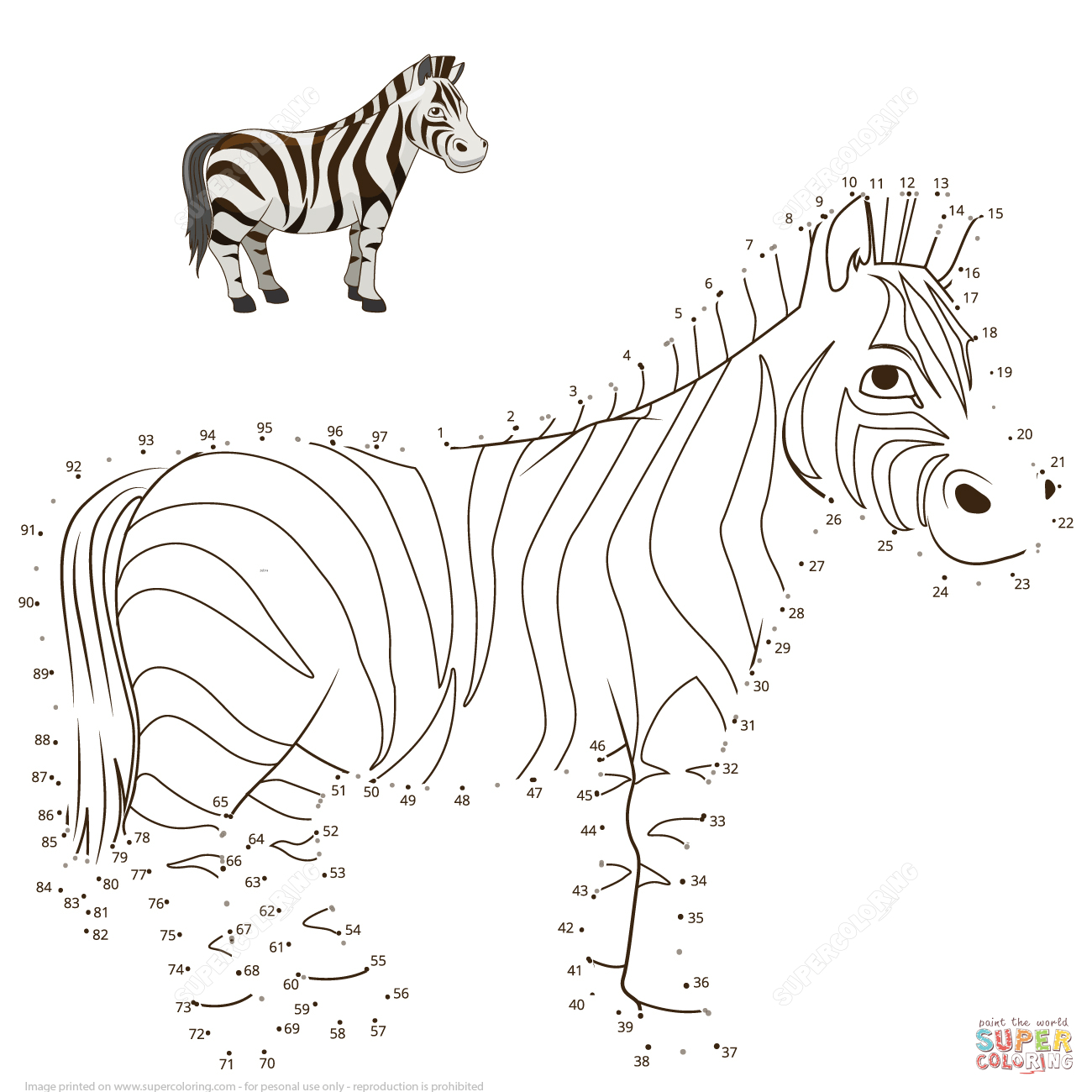 Zebra Dot To Dot | Free Printable Coloring Pages - Printable Zebra Puzzle