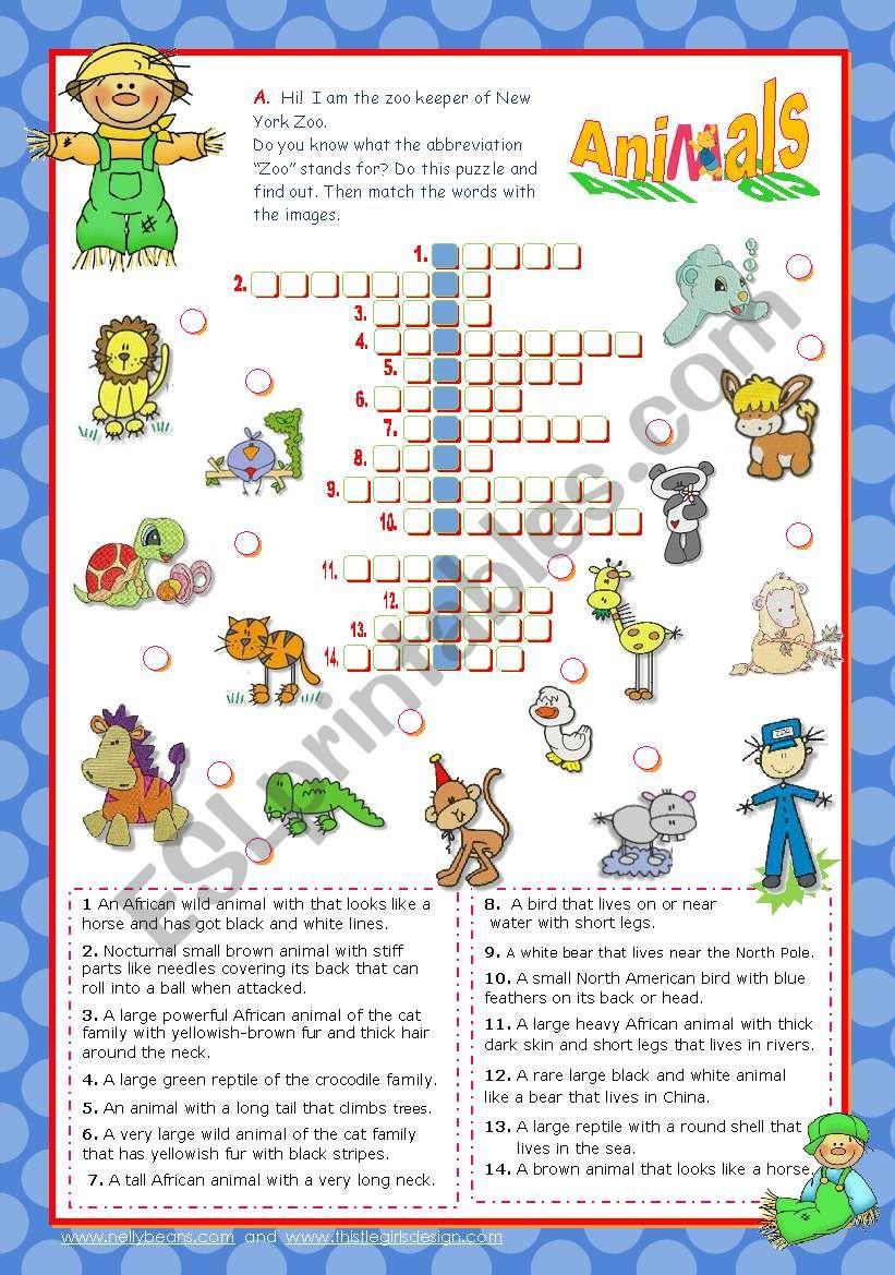 Zoo Friends Crossword Puzzle - Esl Worksheetmena22 - Zoo Crossword Puzzle Printable